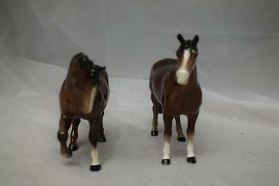 """Two Beswick Gloss Standing Thoroughbred Horses One Jogging 6"""" H Other 6 3/4""""H"""