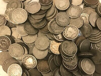 Liberty V Nickel Lot Of 5 Coin Collection 1892-1912 Readable Dates Fast Shipping