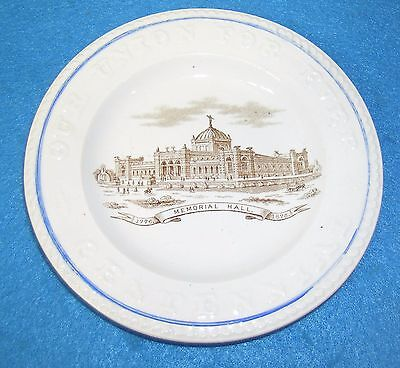 "RARE**  1776 1876 CENTENNIAL 6"" PLATE  Memorial Hall OUR UNION FOR EVER"