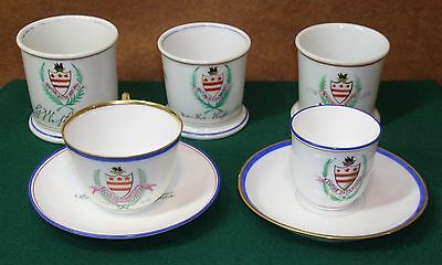 1776 1876 Centennial MARTHA WASHINGTON CREST * 3 SHAVING MUGS + 2 CUP & SAUCER