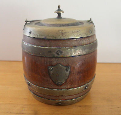 Antique Oak & Porcelain Biscuit Barrel or Tobacco Humidor/Marked EPNS