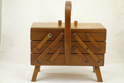 1960's Vintage Cantilever Wooden Accordion Sewing Box Romania