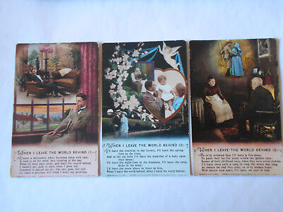 3 Postcard   Song  Cards  Bamforth  Ww1 When I Leave The World Behind Set 5013/3
