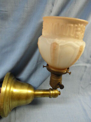 VINTAGE BRASS SCONCE LIGHT FIXTURE w/ PINK & WHITE GLASS SHADE