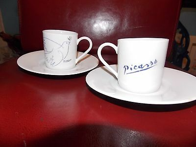 Masterpiece Editions Picasso Living Dove 2 two cup Saucer Greek Turkish Coffee