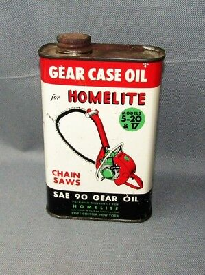 VINTAGE HOMELITE Chainsaw GEAR CASE OIL Can Full