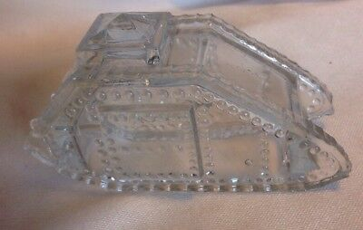 Vintage Glass Armored Tank WW 1 Model Candy Container