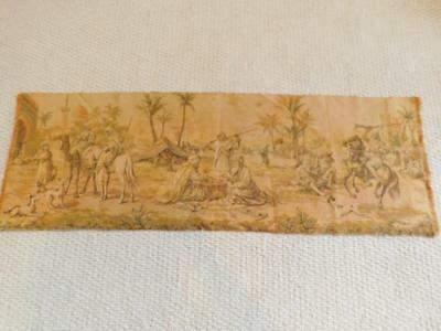 """Vintage Woven TAPESTRY Middle East Scene 19x55"""" Dogs Camels Arab"""