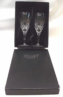 A Pair Of Crystal Cut Glass STUART CRYSTAL Drinks Glasses - W77