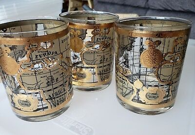 A+ 3 VINTAGE 50s CERA OLD WORLD MAP GOLD MID CENTURY COCKTAIL LOW BALL GLASSES