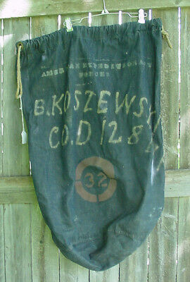Named Us Army Aef Wwi 32Nd Division 128Th Inf Div Painted Denim Barracks Bag