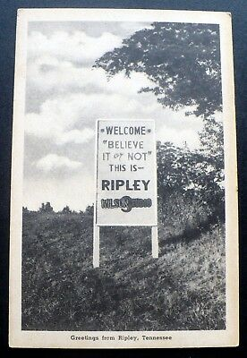 """1940s Clever Roadside Sign """"Welcome to Ripley"""", Tennessee"""