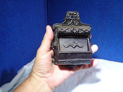 Vintage *CAST IRON*  Kitchen Match Holder Safe Vesta  Wall Match Holder