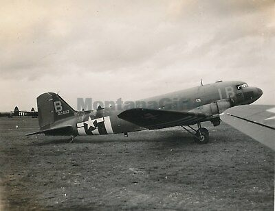 1944 D-Day Normandy USAAF 435th TCG 77th TCS Photo C47 airplane tail #224110