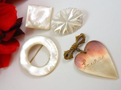 Lot of 4 Antique Vintage Mother-of-Pearl Pin Lot Sweet Heart Eternity Geometric
