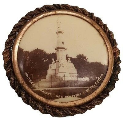 Civil War Soldier's Monument Cemetery Gettysburg Early Photo Pin