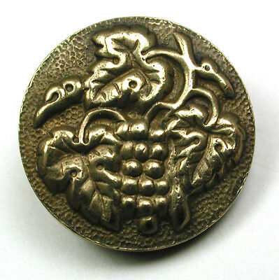 Antique Brass Button Paris Tight Grapes and Leaves Design 5/8""
