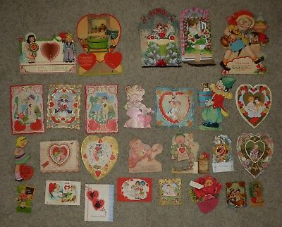 Lot of 27 Antique Valentine Cards Fold Out, Die Cut, Mechanical etc...
