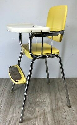 Cosco High Chair Atomic Yellow Vinyl Chrome Leg Tray Vintage Mid Century Baby+