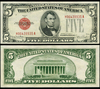 FR. 1531 $5 1928-F Legal Tender Wide I CU