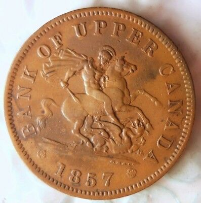 1857 CANADA (UPPER) PENNY - AU - HISTORIC COIN - Strong Condition - Lot #814