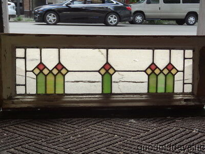 "Antique Bungalow Stained Glass Transom Window 33"" by 12"" Circa 1925 1 of 2"