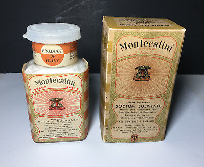 Vtg Montecatini Salts Italy Quack Medicine W/ Box Contents Advertising Box Old
