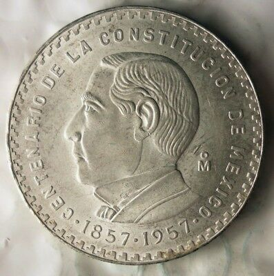 1957 MEXICO 5 PESOS - AU/UNC - RARE ONE Year Type Silver Crown Coin - Lot #814