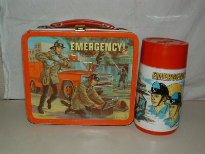 1973 EMBOSSED TIN-LITHO METAL ALADDIN EMERGENCY! LUNCHBOX and THERMOS