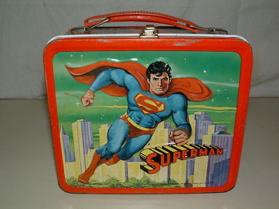 1978 EMBOSSED TIN-LITHO METAL ALADDIN SUPERMAN from THE MOVIE  LUNCHBOX ONLY