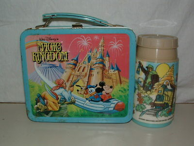 1979 Embossed Tin-Litho Metal Aladdin Walt Disney Magic Kingdom Lunchbox,thermos