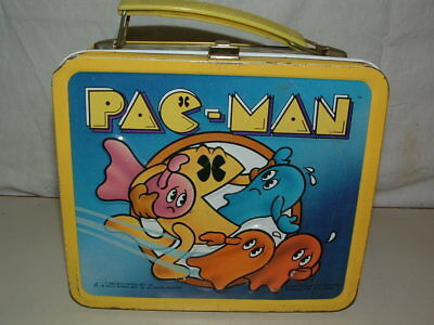 1980 Embossed Tin-Litho Metal Aladdin  Pac-Man  Lunchbox Only