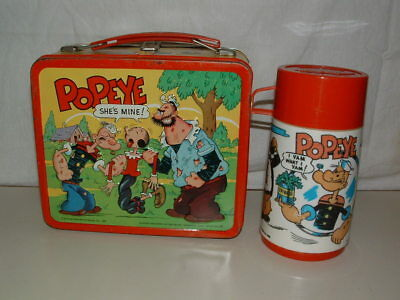 1980 Embossed Tin-Litho Metal Aladdin ( Popeye ) Lunchbox,thermos