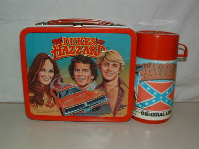 1980 Embossed Tin-Litho Metal Aladdin The Dukes Of Hazzard Lunchbox & Thermos Nm