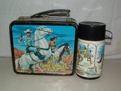 1980 EMBOSSED TIN-LITHO METAL THE LEGENG of the LONE RANGER LUNCHBOX,THERMOS