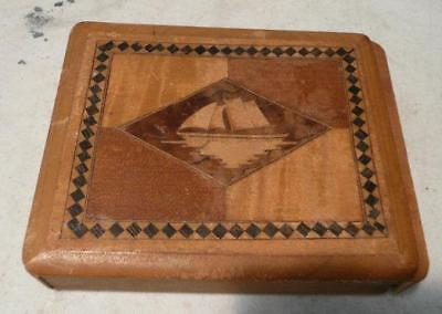 vintage wood Japanese inlaid puzzle box disappearing trick