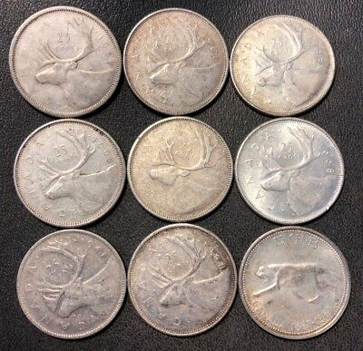 Old Canada Coin Lot - 1941-1968 - SILVER QUARTERS - 9 Coins - Lot #814