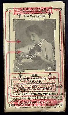 Engel's Art Corners ~ 1910 Package of Gummed Labels for Photos RPPC Photo Albums