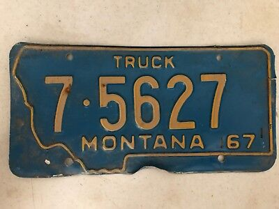 1967 MONTANA Flathead County Truck License Plate 7-5627