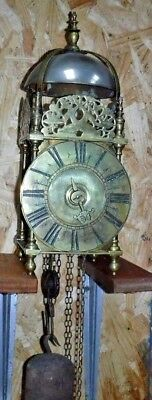 ANTIQUE ENGLISH BRASS LANTERN BELL CHIME CLOCK WORKING ONE HAND & WEIGHT c.1720