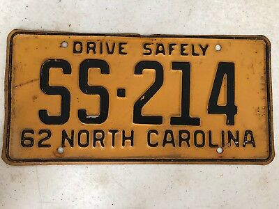 1962 NORTH CAROLINA Drive Safely License Plate SS-214