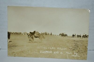 Early 1900s Getting Piled Vulcan Stampede By Morton R.P.P.C.