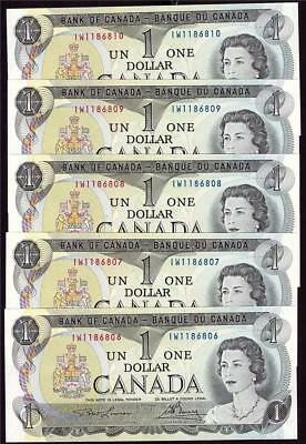 5x 1973 Canada $1 bank notes consecutive BC-46a IW1186806-10 CH UNC65 EPQ