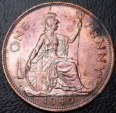 1940 Great Britain One Penny Coin KM# 845 - Great Detail, Better Grade