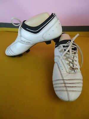 ADIDAS ADI-PURE Mens Size 9US Football Soccer Boots White LEATHER Lace VGC #3602