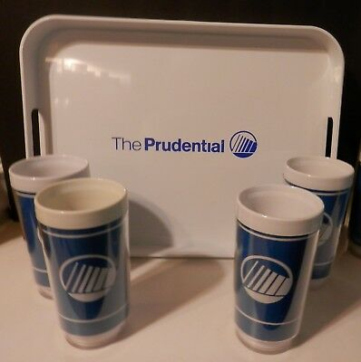 The Prudential 4  Insulated Glasses And Serving Tray Advertising Set