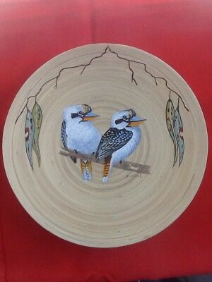 Kookaburra Hand Painted Acrylic On Wooden Bowl, Signed, Varnished, Ready To Hang