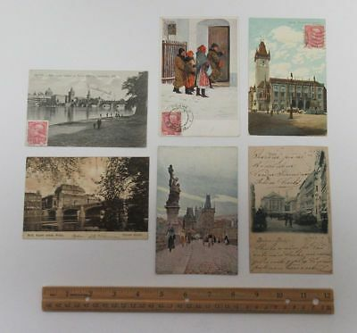Lot (6) Early Prague Czech Republic Foreign Postcards Stamps Postmarks bv8273