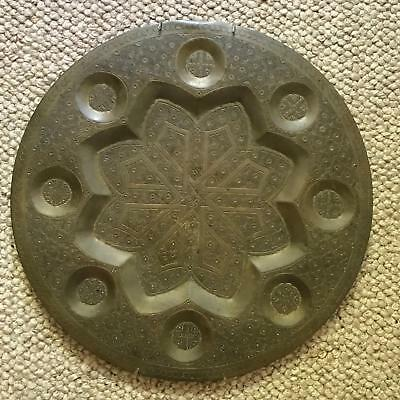 Vintage Middle Eastern Serving Tray Solid Brass Wall Hanging 16 1/2 inches