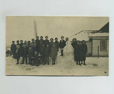 Vintage (3x5) Photograph School Children Group Photo Snowman Winter Scene bv8130